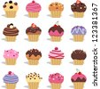 Cupcakes and muffins different flavors and colors - stock vector
