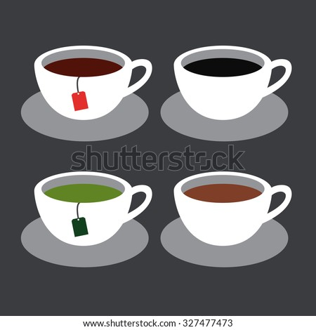 Cups with coffee and tea.
