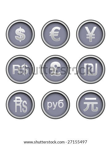 Currency symbol icon collection on modern vector button set