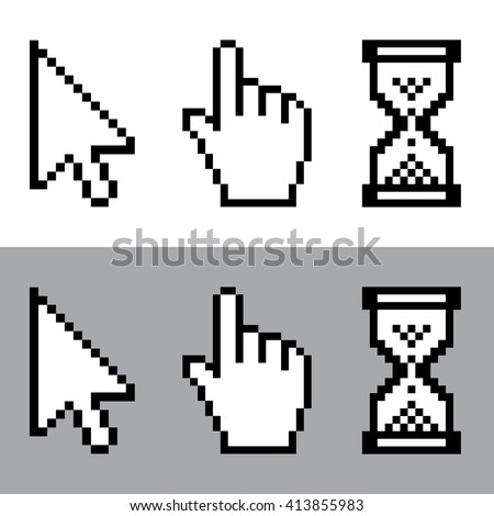 Cursor , cursor hand pointer and sand clock pixel icon set . Vector illustration