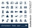 Customs and transport urban web icons set. Hand drawn sketch illustration isolated on white background - stock vector