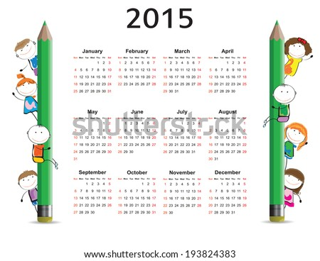 Cute and colorful kids calendar on 2015 year