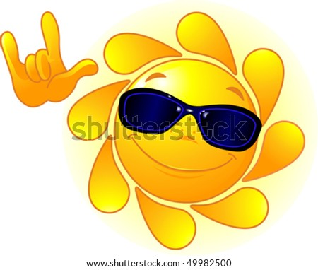 Cute and shiny Sun with sunglasses showing ?I love you? gesture