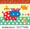 cute animal doodle greeting - stock vector