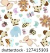 cute animal seamless pattern - stock vector