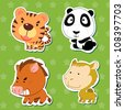 cute animal stickers with tiger, camel, wild boar, and panda. - stock vector