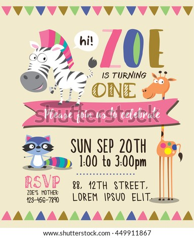 Cute animals birthday party invitation card stock vector 450484870 cute animals birthday party invitation card template stopboris Image collections