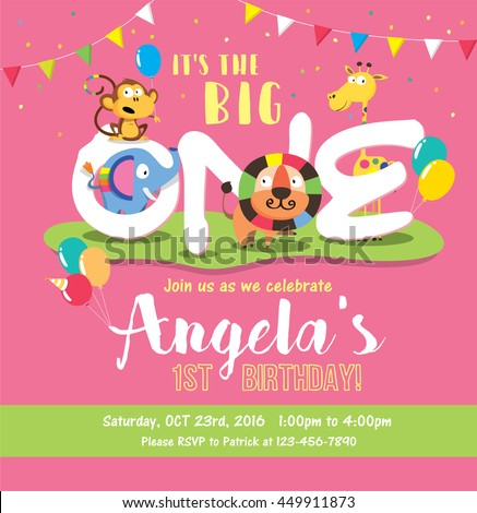 1st Birthday Party Invitation Card Vector 201449834 – Birthday Party Card Template