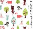 Cute animals seamless pattern - stock vector