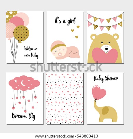 Cute baby shower card with sweet baby girl