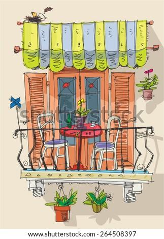 cute balcony cartoon stock vector 266457791 shutterstock