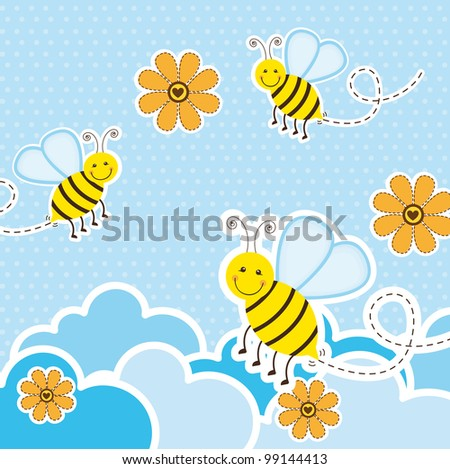 cute bees over clouds and flowers, background. vector