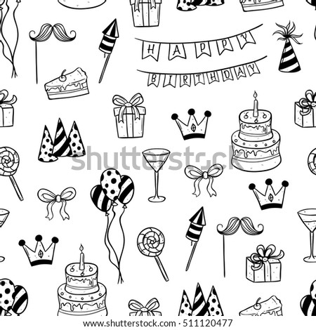 cute birthday elements in seamless pattern using doodle art