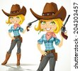Cute blond cowgirl with revolver isolated on a white background - stock