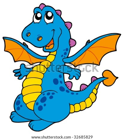 Cute blue dragon - vector illustration.
