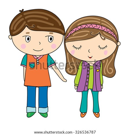 cute boy and girl cartoon icon, reaching hand,, shy woman, long long brown hair, colorful outfit, illustrator design, vector