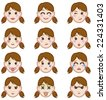 Cute boy faces showing different emotions, icon set - stock vector