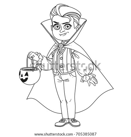 Cute Boy In Vampire Costume With A Pumpkin Bag For Sweets Trick Or Treat Outlined