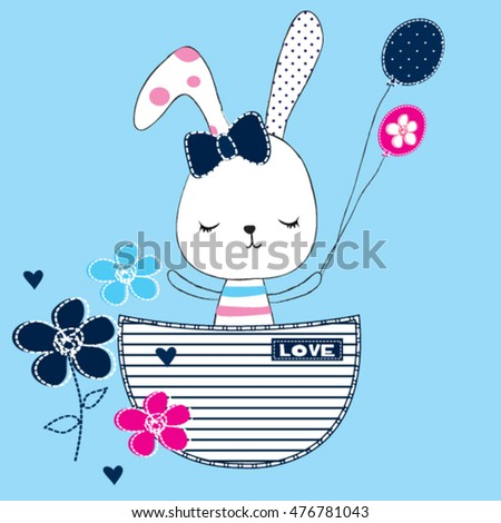 cute bunny girl with balloon and flowers in the pocket, Happy Birthday card, T-shirt graphics for kids vector illustration