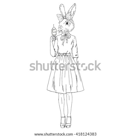 Cute Bunny Girl With Ice Cream Furry Art Illustration Fashion Animals Hipster