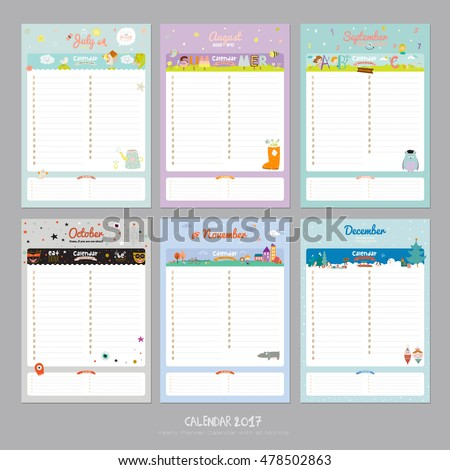 Cute Calendar  Template Happy Birthday Stock Vector