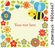 cute card with fun bee. vector illustration - stock vector