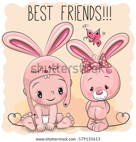 Cute cartoon baby rabbit hat butterfly 696045925 cute cartoon baby in a bunny hat and pink bunny voltagebd Image collections
