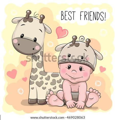 Cute cartoon girl giraffe