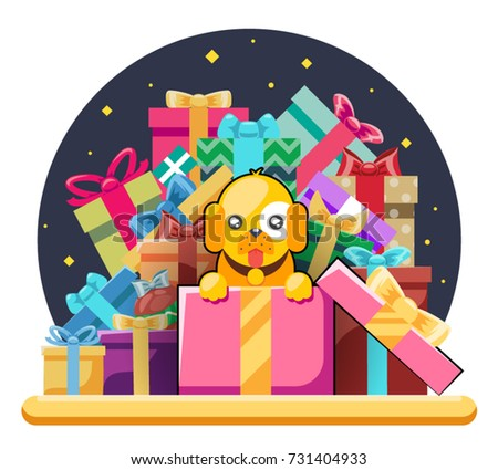 Gift box new year cartoon flat stock vector 524233537 shutterstock cute cartoon baby yellow dog cub gift box pile of gifts 2018 year flat design head negle Gallery