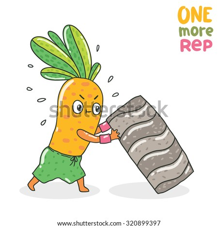 Cute cartoon carrot character pushing tire .Healthy food illustration