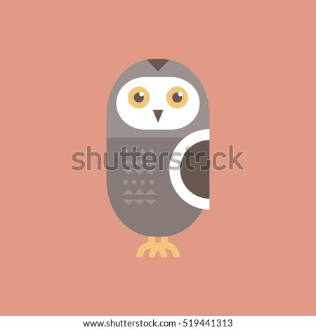 Cute cartoon grey owl on pink background. Flat design forest creature. Animal vector.