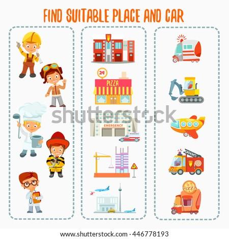 Cartoon children engineer technician labor worker stock for Find a builder