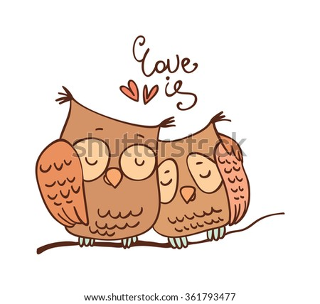 Beautiful illustration cartoon owl vector greeting stock vector cute cartoon owls in vector for greeting card and invitation stopboris Choice Image