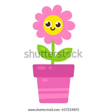 Cute Cartoon Pink Flower With Smiling Face In Pot Vector Illustration Simple Modern