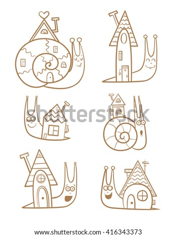 Cute cartoon snails and their houses set. Sweet home. Children's illustration. Transparent background. Vector image.
