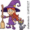 Cute cartoon witch with black cat. Vector clip art illustration with simple gradients. Each in a separate layer. - stock vector