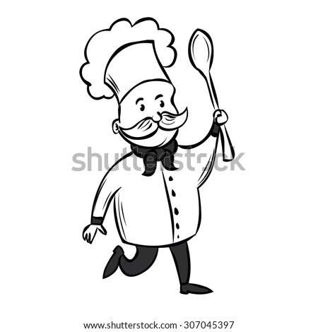 Cute Chef with a mustache and a huge spoon. Hand drawn cartoon vector illustration.