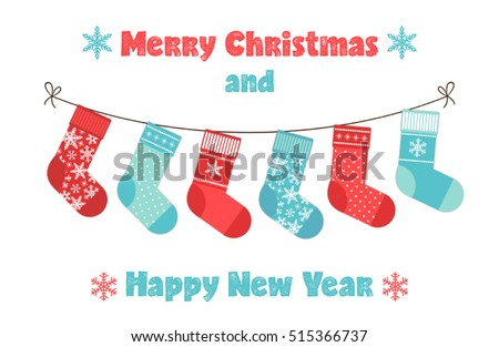 christmas stocking on winter background stock vector 524337727 shutterstock. Black Bedroom Furniture Sets. Home Design Ideas