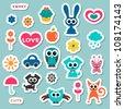 Cute childish stickers - stock photo