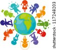 Cute children silhouettes around the World. Earth Planet with colored children silhouettes. - stock photo