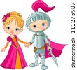 Cute children wearing Medieval Costumes - stock vector