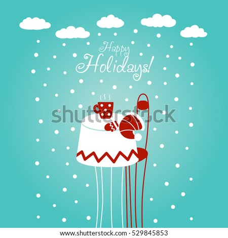Cute Christmas and New Year vector illustration with blue sky, snowflakes, cup of tea, Santa hat, mitten, chair and table. Funny winter holiday card