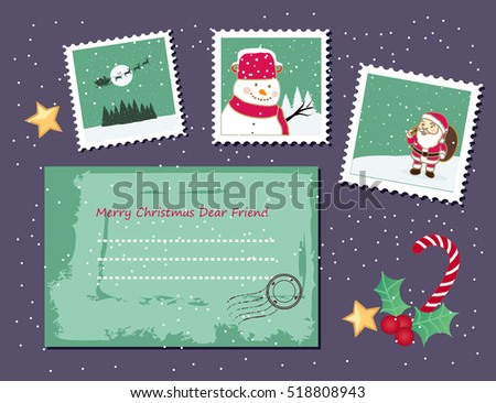 Cute Christmas envelope and stamps