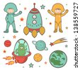 Cute colorful outer space collection - stock vector