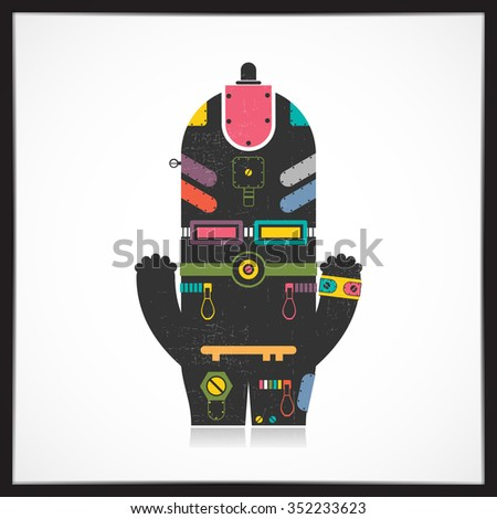 Cute colorful robot with grunge isolated on white. Cartoon illustration. vector