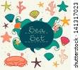 Cute colorful sea dwellers. Under the sea set. Hand drawn vector illustration. - stock vector