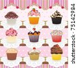 Cute Cupcakes Seamless Pattern. Set of 9 colorful cupcakes in a lovely display. Tile it together and there is a seamless pattern to use as you wish. Cupcakes also can be used as individual icons. - stock photo