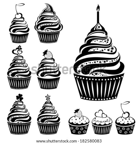 Cute cupcakes set isolated on White background. Vector illustration