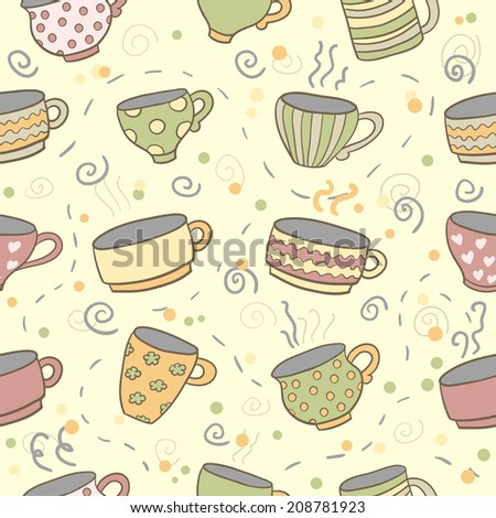 Cute cups seamless pattern. Seamless pattern can be used for menu, background, card template, business card or for website. Hand drawn cup pattern made in vector.
