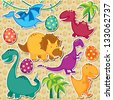 cute dinosaur clip art - stock photo